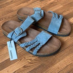 NWT Sonoma Coralie Women's Blue Suede Sandals 7.5M